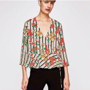 Zara Striped Floral Wrap Blouse